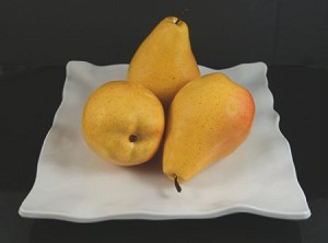 Fake Food Jumbo Yellow Pears On Decorative Melamine Tray
