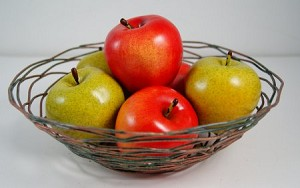 Fake Food Green & Red Apples in Decorative Wire Bowl