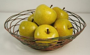 Fake Food Green Apples in Decorative Wire Bowl