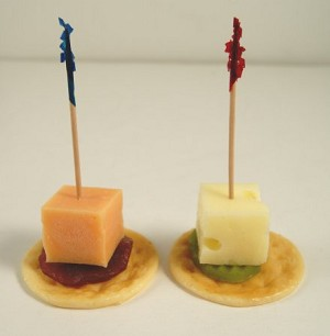 Fake Food Swiss & Cheddar Cheese Hor D'oeuvre Set