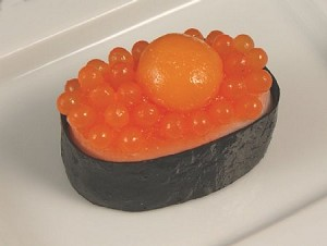 Fake Food Deluxe Salmon Roe With Raw Quail Egg {masago Uzura} Sushi - One Piece