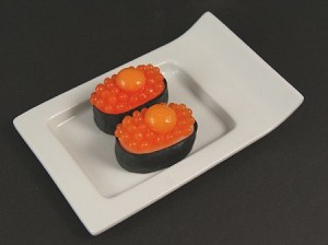 Fake Food Deluxe Salmon Roe With Raw Quail Egg {masago Uzura} Sushi - (pack of 2)
