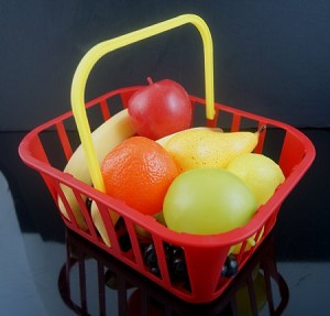 Fake Food Kiddy Fruit Basket - 12 Pc