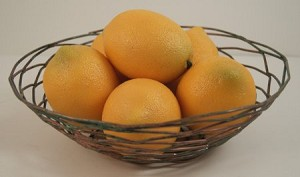 Fake Food Lemons In Decorative Wire Bowl