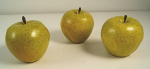 Fake Food Green Sweet Crispin Apples (set of 3)