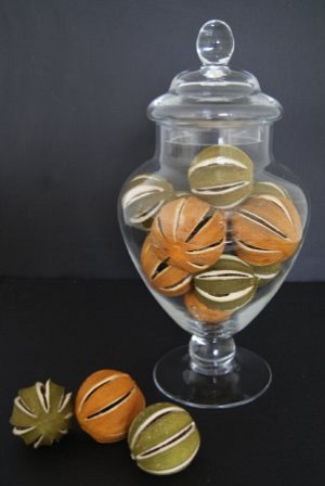 Fake Food Dried Natural Green & Orange Oranges In Glass Apothecary Jar