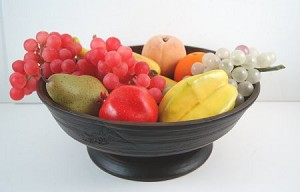 Fake Food Fruit Assortment on Primitive Footed Bowl