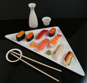 Fake Food 8 - Piece Deluxe Sushi Plate With Sake Set-up
