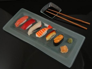 Fake Food Deluxe Sushi On Frosted Glass Plate