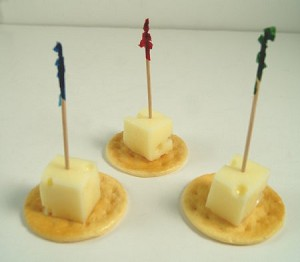 Fake Food Swiss Cheese Cubes on Crackers