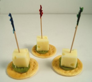 Fake Food set of 3 Swiss Cheese Cube & Pickle Slice on Cracker