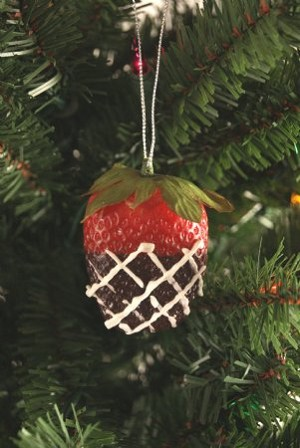 Fake Food Chocolate Covered Strawberry Ornament
