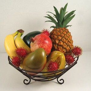 Fake Food Tropical Fruit Assortment In Decorative Wire Bowl