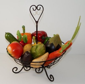 Fake Food Vegetable Assortment In Wire Kitchen Basket