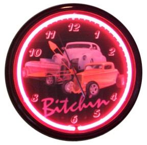 Bitchin' 3 Cars Neon Clock