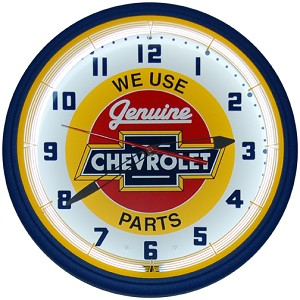 Chevy Red Center Neon Clock
