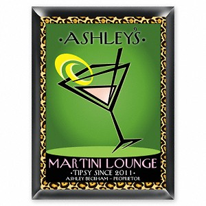 "Personalized ""Cosmo-Chic"" Martini Lounge Sign"