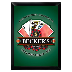 "Personalized ""Texas Hold-Em"" Poker Pub Sign"