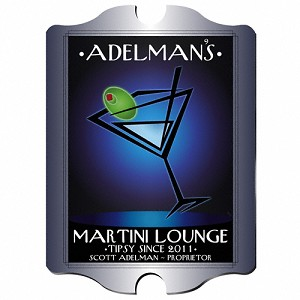 "Vintage Personalized ""After Hours"" Martini Lounge Sign"