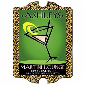 "Vintage Personalized ""Cosmo-Chic"" Martini Lounge Sign"