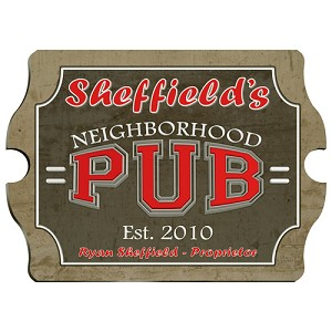 Vintage Personalized Neighborhood Pub Sign