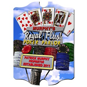 Personalized Marquee Daytime Royal Flush Poker Vintage Sign