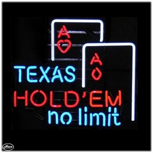 Texas Hold'em No Limit Neon Bar Sign
