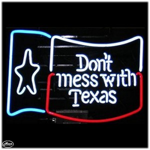 Don't Mess with Texas Flag Neon Bar Sign