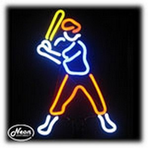 Baseball Player Neon Sculpture