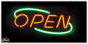 Open Deco Red & Green Neon Open Sign