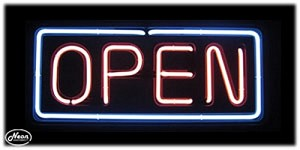 Open Pink & White Neon Open Sign