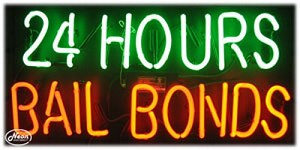 24 Hours Bail Bonds Neon Business Sign