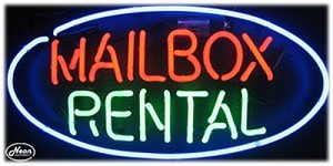 Mailbox Rental Neon Business Sign
