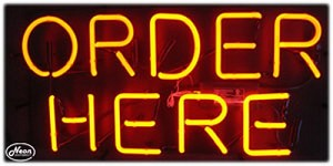 Order Here Neon Business Sign