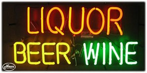 Liquor Beer Wine Neon Business Sign