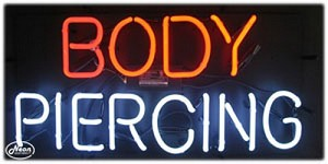 Body Piercing Neon Business Sign