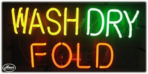 Wash Dry Fold Neon Business Sign