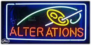 Alterations Neon Business Sign