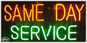 Same Day Service Neon Business Sign