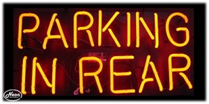 Parking in Rear Neon Business Sign