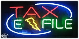 Tax E-File Neon Business Sign