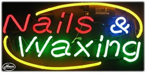 Nails & Waxing Neon Business Sign