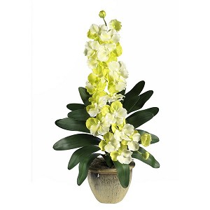 Double Stem Vanda Orchid Silk Flower Arrangement