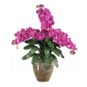Triple Stem Vanda Orchid Silk Flower Arrangement