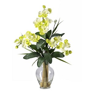 Triple Mini Vanda Orchid Liquid Illusion Silk Flower Arrangement