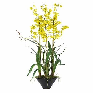 Oncidium W/Black Vase Silk Flower Arrangement