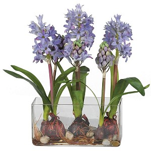 Hyacinth W/Rectangle Vase Silk Flower Arrangement