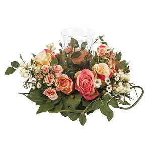 Rose Candleabrum Silk Flower Arrangement
