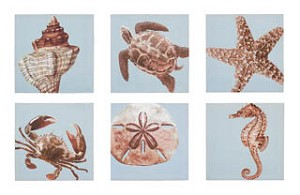Creatures of the Sea Canvas Set of 6