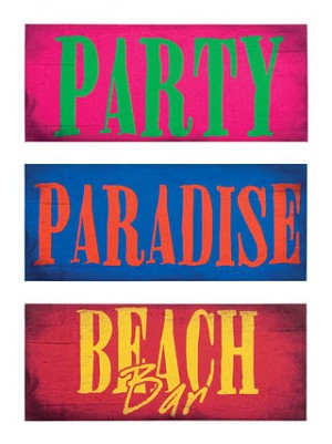 Tropical Party Signs Canvas Set of 3